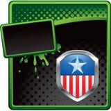 Patriottisch pictogram op groene en zwarte halftone advertentie Royalty-vrije Stock Foto's