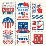 Patriottische elementen en motievenberichten om stemming te bevorderen stock illustratie