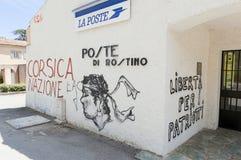 Patriottische graffiti in Corsica, Frankrijk Stock Foto's