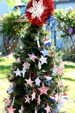 Patriottische Kerstmisboom in fort Myers, Florida, de V.S. royalty-vrije stock foto