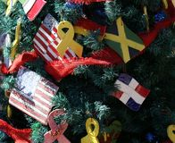 Patriottische Kerstmisboom in fort Myers, Florida, de V.S. royalty-vrije stock foto