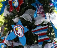 Patriottische Kerstmisboom in fort Myers, Florida, de V.S. Royalty-vrije Stock Afbeelding