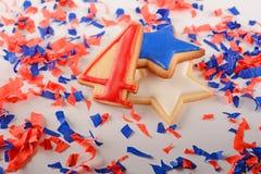 Patriottische koekjes voor 4 van Juli Royalty-vrije Stock Fotografie