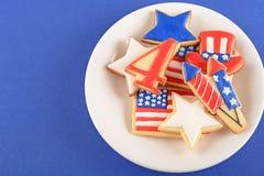 Patriottische koekjes voor 4 van Juli Stock Afbeeldingen