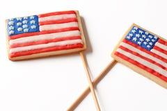 Patriottische koekjes voor 4 van Juli Stock Foto's