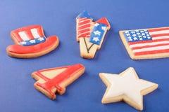 Patriottische koekjes voor 4 van Juli Royalty-vrije Stock Foto