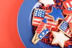 Patriottische koekjes voor 4 van Juli Stock Fotografie
