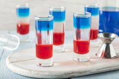 Patriottische Rode Witte en Blauwe Schoten stock foto's