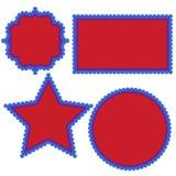 Patriottische vierde van Buitensporige de Pretvormen van Juli met Gegratineerde Randen en Punten in Rode Wit en Blauw vector illustratie