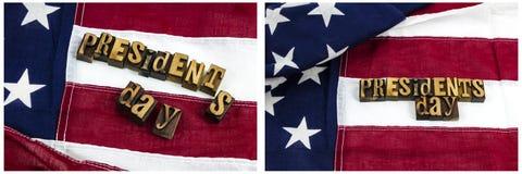 Patriottismo della bandiera dello scritto tipografico di giorno di presidenti Fotografia Stock Libera da Diritti