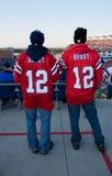 Patriotventilatorer på stadionen royaltyfri foto
