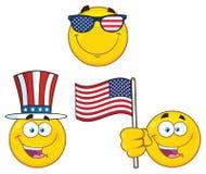 Patriotyczna Żółta kreskówka Emoji Stawia czoło charakteru - set 2 ilustracja royalty ilustracja