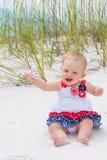 Patriotyczna dziewczynka przy plażą Obraz Stock