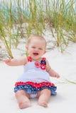 Patriotyczna dziewczynka przy plażą Fotografia Royalty Free