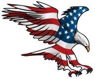 Patriotyczna Latająca flagi amerykańskiej Eagle wektoru ilustracja royalty ilustracja