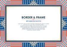 Patriotyczna ramy granica z flaga amerykańska stylem i koloru projektem, zdjęcia royalty free