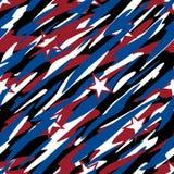 Patriotycznego kamuflażu Czerwony Biały, Błękitny z gwiazdy Amerykańskiej dumy Abstrakcjonistyczną Bezszwową Wielostrzałową Desen ilustracji