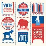 Patriotyczni elementy i motywacyjne wiadomości zachęcać głosować ilustracja wektor