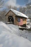 Patriotyczny śnieg Zakrywający most w Nowa Anglia obrazy royalty free
