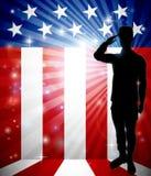 Patriotyczny żołnierz Salutuje flagę amerykańską ilustracja wektor