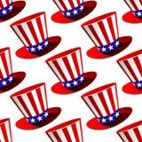 Patriotyczny Amerykański odgórnego kapeluszu bezszwowy wzór ilustracji
