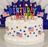 Patriotyczny 4th Lipa Urodzinowy tort zdjęcie stock