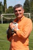 Patrizio Oliva med en kanin Fotografering för Bildbyråer