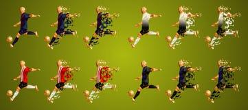 Patrocine o grupo B da liga do ` s, uniformes coloridos dos jogadores de futebol, 4 t ilustração stock