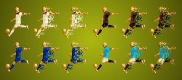 Patrocine o grupo F da liga do ` s, uniformes coloridos dos jogadores de futebol, 4 ilustração do vetor