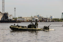 Patrol Boat patrolling Norfolk Harbor Royalty Free Stock Images