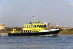 Patrol Boat Rijkswaterstaat in the Rhine at Arnhem Royalty Free Stock Image