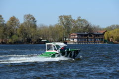 Patrol boat on the river Moscow. Royalty Free Stock Images