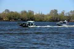 Patrol boats on the river Moscow. Stock Images