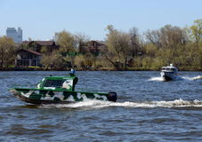 Patrol boats on the river Moscow. Royalty Free Stock Images