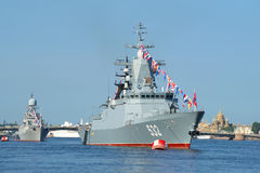 Patrol corvette Boykiy and the small anti-submarine ship Kazanets in the waters of the Neva. Day of the Na Stock Photos