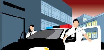 Patrol and policemen vector illustration