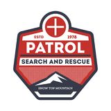 Patrol, search and rescue vintage label Stock Photo