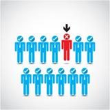 Patron choisissant l'homme d'affaires imparfait pour le licenciement illustration de vecteur