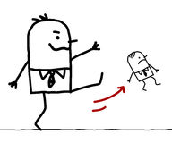 Patron de bande dessinée donnant un coup de pied un petit employé illustration stock