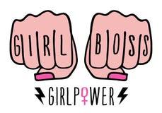 Patron de fille, mains femelles, puissance de fille, vecteur illustration stock