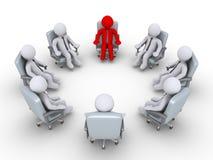 Patron et hommes d'affaires s'asseyant en cercle Images stock