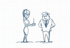 Patron fâché Doodle de secrétaire Bringing Coffee To de femme Photographie stock libre de droits