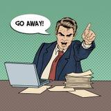 Patron fâché Screaming d'homme d'affaires et de signaler doigt Art de bruit illustration stock