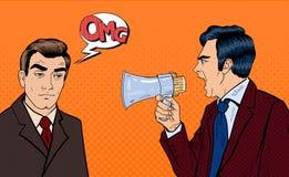 Patron fâché Screaming dans le mégaphone sur l'homme d'affaires épuisé Art de bruit illustration de vecteur