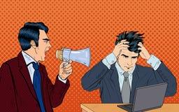 Patron fâché Screaming dans le mégaphone sur son travailleur Art de bruit illustration stock