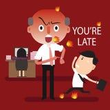 Patron fâché vous êtes en retard Photos stock