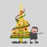 Patron heureux regardant son arbre de Noël d'argent 3d Images stock