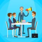 Patron Hold Megaphone Loudspeaker d'homme d'affaires illustration de vecteur