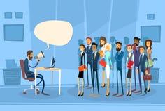 Patron Hold Megaphone Loudspeaker d'homme d'affaires illustration stock