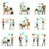 Patron Managing And Supervising le travail des employés de bureau réglés de directeur général And Workers Illustrations Photo libre de droits